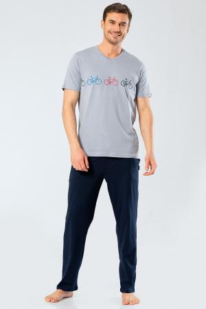 Pijama bumbac barbati set tricou si pantaloni lungi TÜREN gri [0]