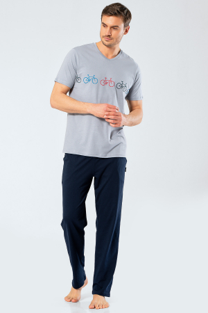 Pijama bumbac barbati set tricou si pantaloni lungi TÜREN gri [1]