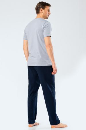 Pijama bumbac barbati set tricou si pantaloni lungi TÜREN gri [2]