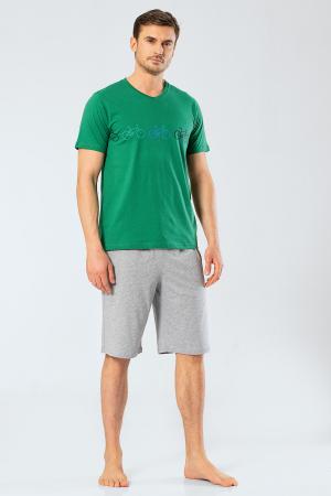 Pijama bumbac barbati set tricou si pantaloni scurti TÜREN verde [1]