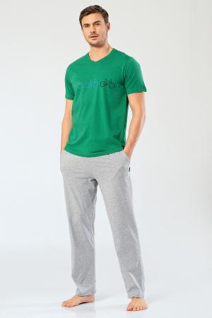 Pijama bumbac barbati set tricou si pantaloni lungi TÜREN verde [1]
