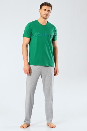 Pijama bumbac barbati set tricou si pantaloni lungi TÜREN verde [2]