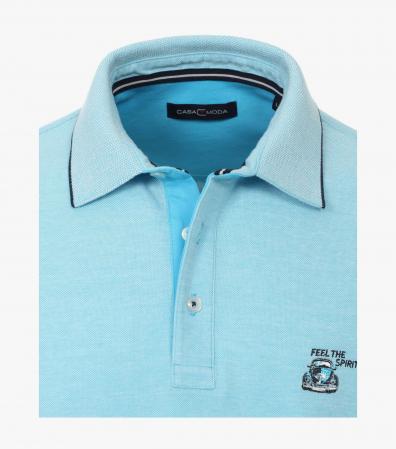 Tricou polo bumbac barbati CASA MODA bleu broderie Feel the Spirit [3]