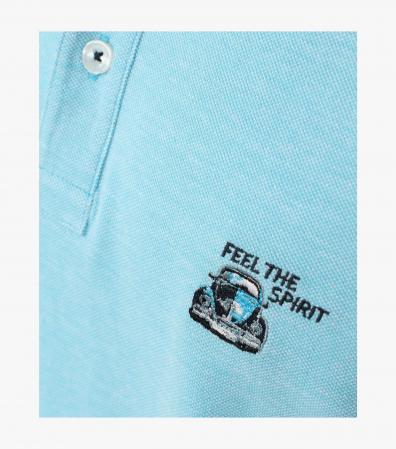 Tricou polo bumbac barbati CASA MODA bleu broderie Feel the Spirit [1]