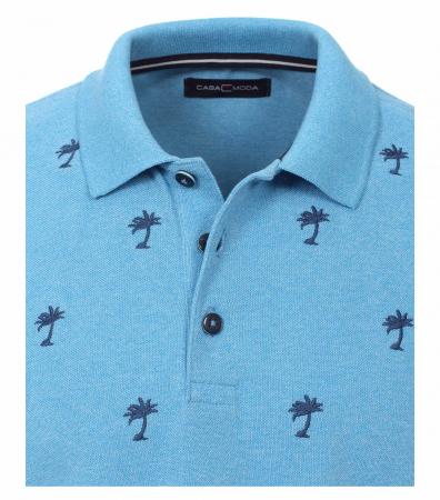 Tricou polo CASA MODA barbati bleu print palmieri [2]