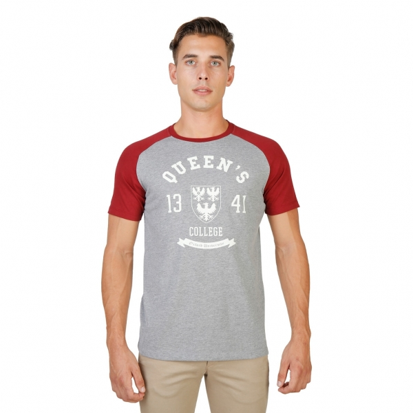Tricou Oxford University QUEENS-RAGLAN-MM-GREY-RED 0
