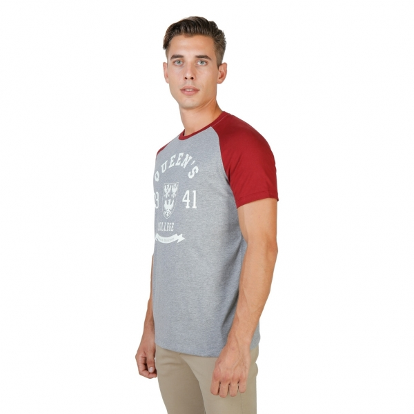 Tricou Oxford University QUEENS-RAGLAN-MM-GREY-RED 1