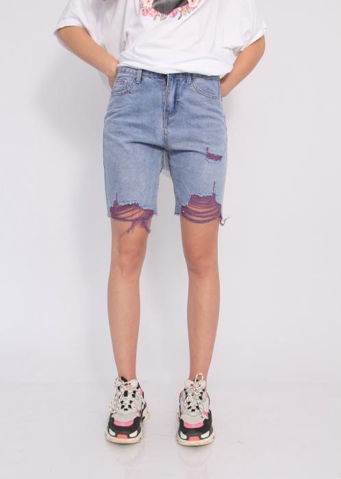 Pantaloni scurti din denim, rupti . 0