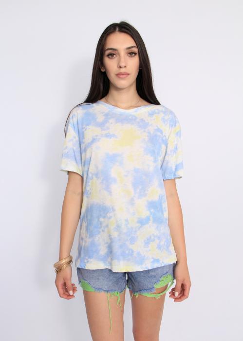 Tricou imprimeu degrade bleu. 0