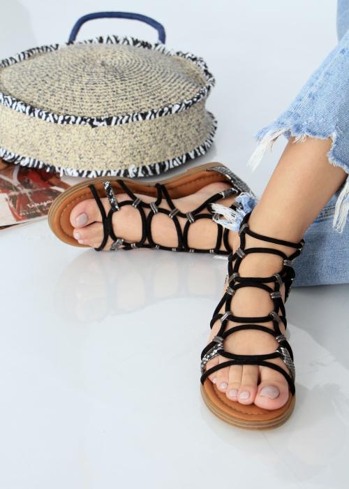Sandale joase tip gladiator animal print 0
