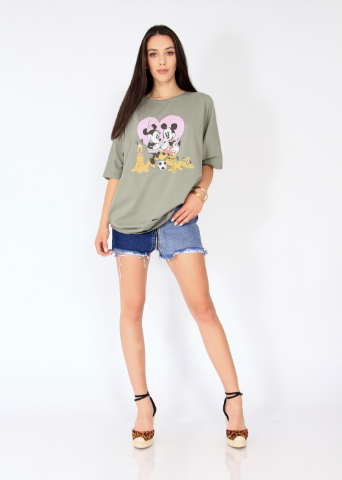 Tricou tip fluture cu print Mickey & Minnie 0