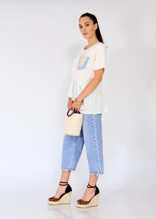 Bluza buzunar jeans aplicat. 0