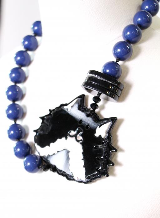 Colier bile albastre cu disc pisica 0
