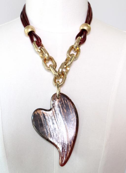 Colier zale aurii inima mare 1