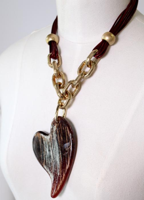 Colier zale aurii inima mare 0