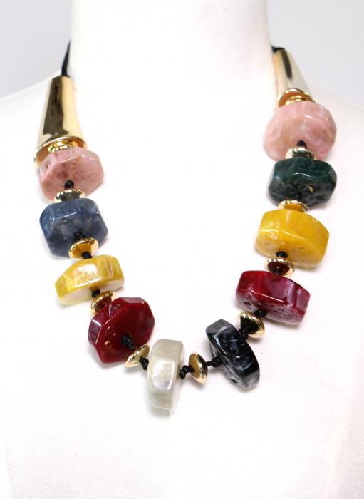 Colier conuri aurii si pietre colorate 1