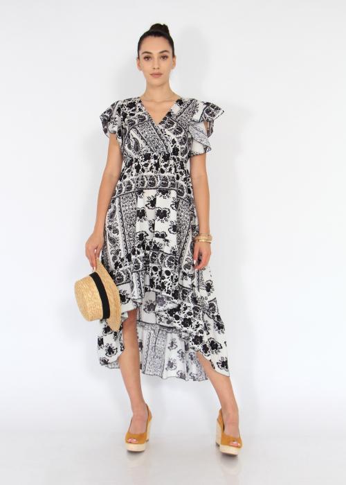 Rochie lunga cu volane si print floral 0