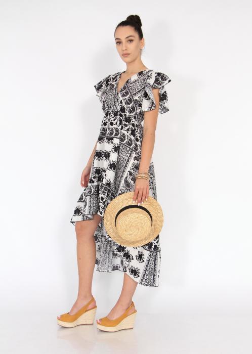 Rochie lunga cu volane si print floral 1