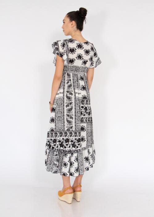 Rochie lunga cu volane si print floral 2