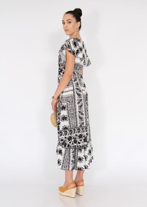 Rochie lunga cu volane si print floral 3