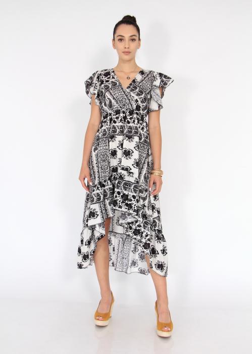 Rochie lunga cu volane si print floral 4
