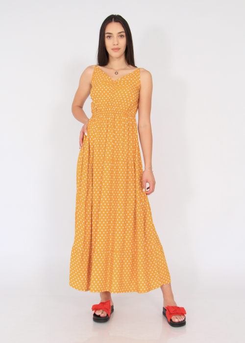 Rochie lunga cu volane si buline 1