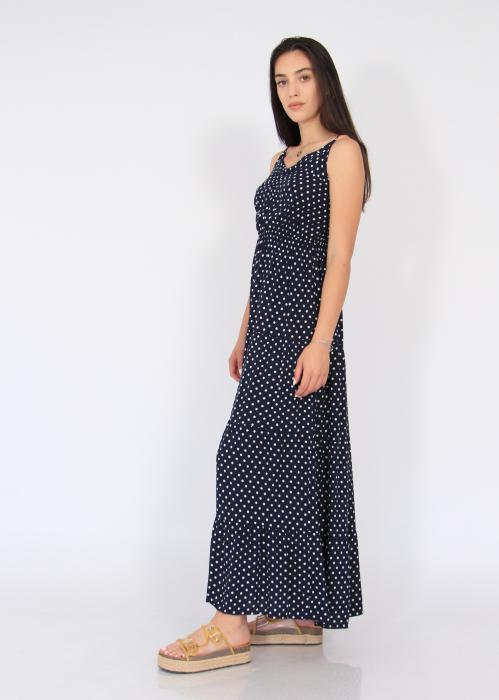 Rochie lunga cu volane si buline 4