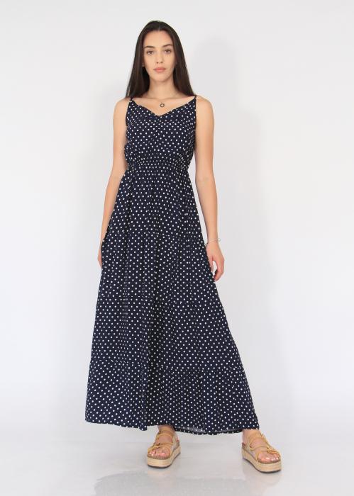 Rochie lunga cu volane si buline 6