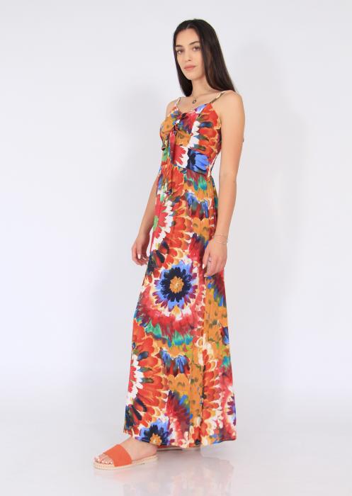 Rochie lunga pe talie print floral 2