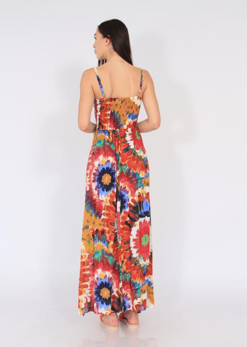 Rochie lunga pe talie print floral 4