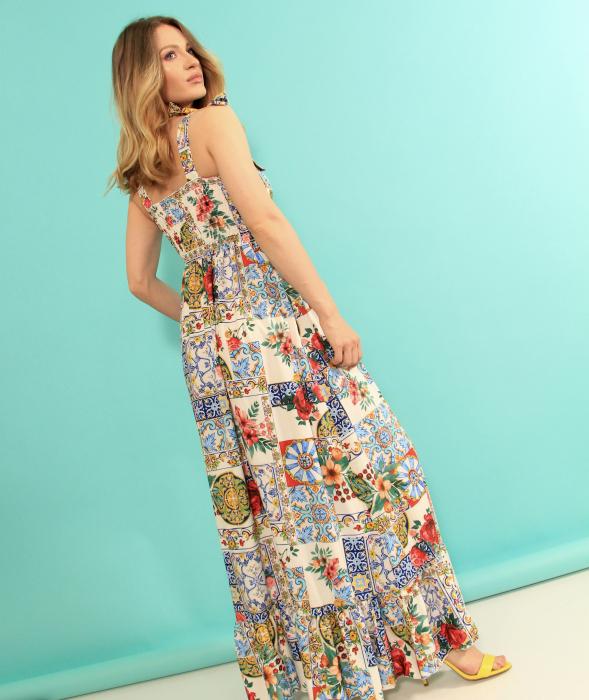 Rochie lunga imprimeu floral. [3]