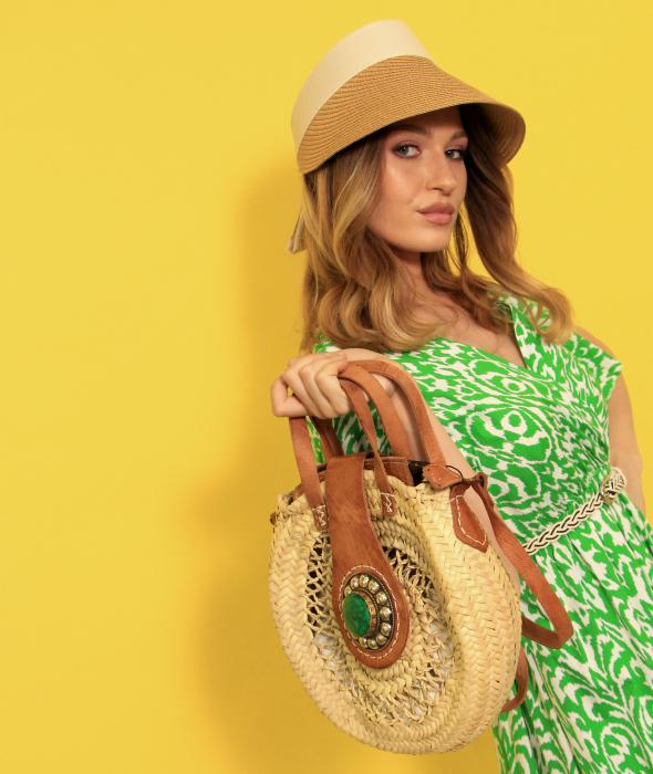 Rochie 3/4 si geanta din rafie cu palarie de plaja. [2]
