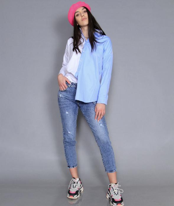 Jacheta piele ecologica, camasa si jeans. 3