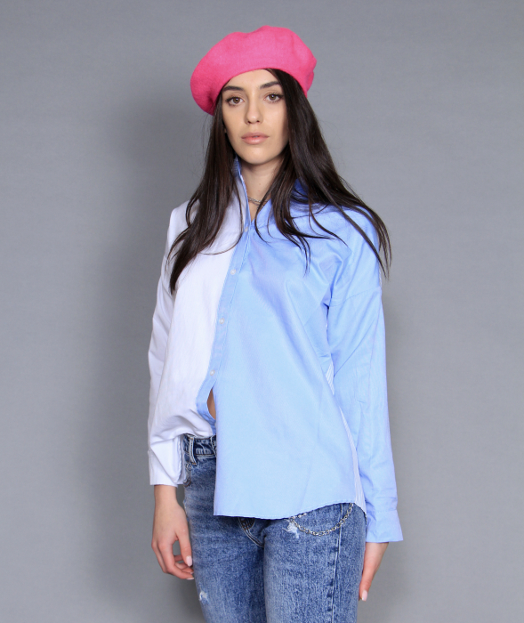 Jacheta piele ecologica, camasa si jeans. 4