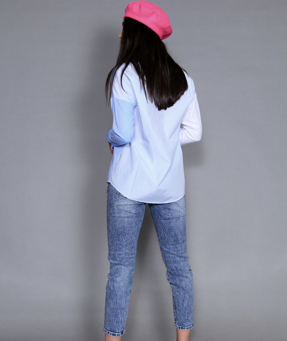 Jacheta piele ecologica, camasa si jeans. 6