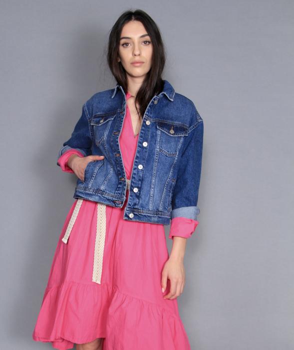 Jacheta jeans si rochie lunga. 2
