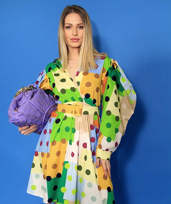 Rochie midi cu imprimeu colorat. [0]