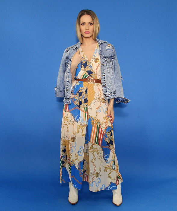 Jacheta din denim si rochie lunga. 1