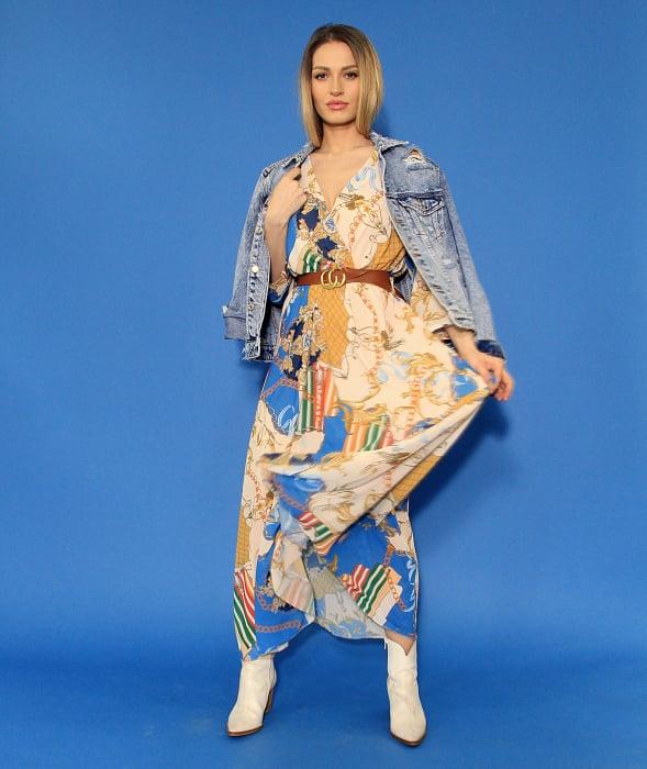 Jacheta din denim si rochie lunga. 2