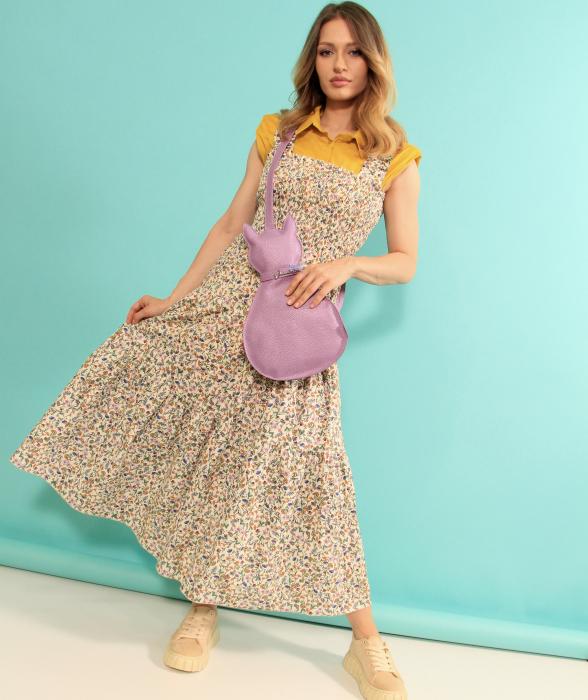Rochie lunga cu bretele si geanta in forma de pisica. [0]