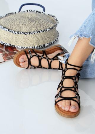 Sandale joase tip gladiator animal print0
