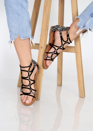 Sandale joase tip gladiator animal print3