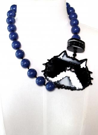 Colier bile albastre cu disc pisica1