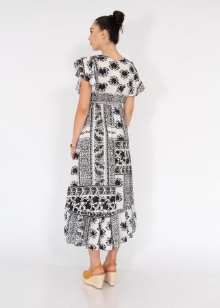 Rochie lunga cu volane si print floral2