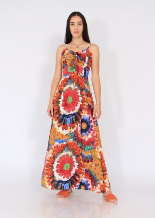 Rochie lunga pe talie print floral0