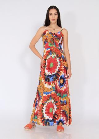 Rochie lunga pe talie print floral1