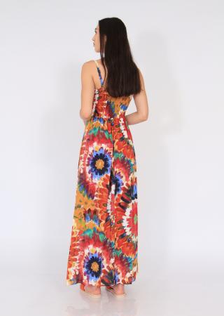 Rochie lunga pe talie print floral3