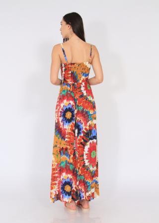 Rochie lunga pe talie print floral4