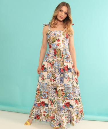Rochie lunga imprimeu floral. [1]