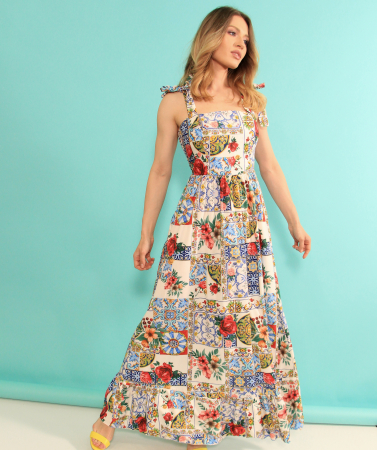 Rochie lunga imprimeu floral. [2]